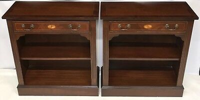 PAIR REPRODUX Antique Style Mahogany Bookcases Display Cabinets ADJUSTABLE