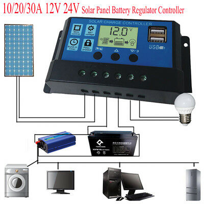 LCD Solar Charge Controller regolatore carica Regulator USB 10A/20A/30A 12V/24V