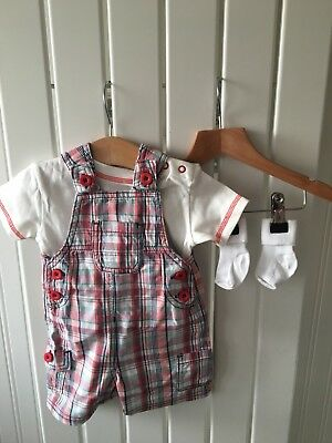 Baby Boy's Clothes 0-3 Months - BNWOT 3pc Outfit Top Check Dungarees & Socks