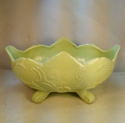 Vtg Mid-Cent California Pottery USA Mint Green Art Deco Style Footed Planter