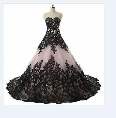 Black Lace Applique Wedding Dress Lace applique Bridal Gown Custom all Size