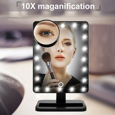10X Lente dingrandimento Touch Screen Specchio per il trucco Make-up 20LED Luce