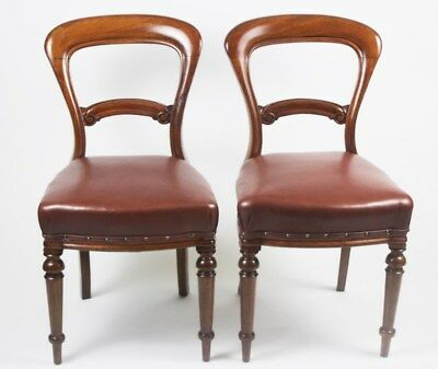 A Pair of Antique Victorian Walnut & Leather Balloon Back Chairs  [PL4353]
