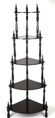 Vintage Mahogany 5 Tier  Corner Whatnot Shelves - FREE Shipping [PL4337]