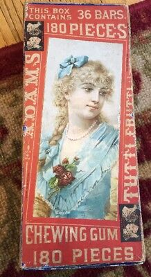 Old Adams Tutti Frutti Chewing Gum Display Box Actress With Glass & Lace Intact