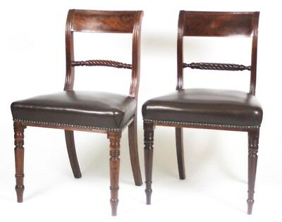A Pair of Antique Georgian Mahogany and Leather Chairs - FREE Shipping  [PL4347]