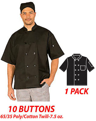 HiLite Chef Coat 10 Buttons Short Sleeve 65/35 PolyCotton Twill 7.5 oz. 530BK