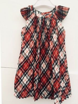 Baby Gap Girls Pleated Pretty Tartan Checkered Party Formal Dress 3 Years 3-4