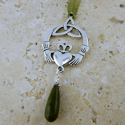 Silver Irish Claddagh w/ Celtic Trinity Knot & Connemara marble bead ornament