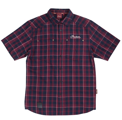 Mens Ss Soft Red Plaid Shirt By Indian Motorcycle Embroidered Logos Sizes L Xl