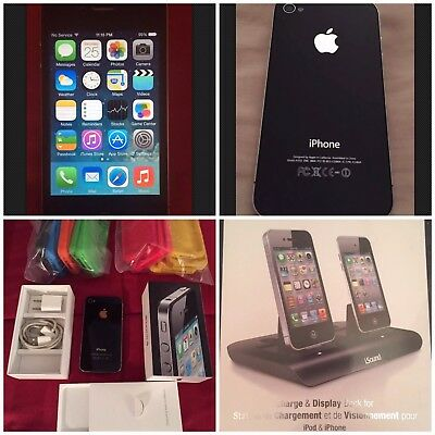 Apple iPhone 4 Black 32GB AT&T Box Lot 13 Gel Hard Cases iSound Dual Power Dock