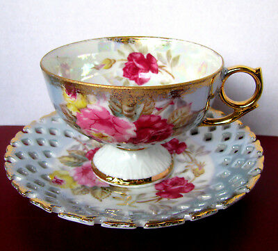 L M Royal Halsey Fancy Large Pink Rose Iridescent Reticulated Teacup and Saucer