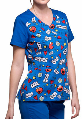d1ce2cb60dd CHEROKEE TOONIFORMS MEDICAL Scrubs Elmo Is Awesome Top Sz XS-XXL NWT ...