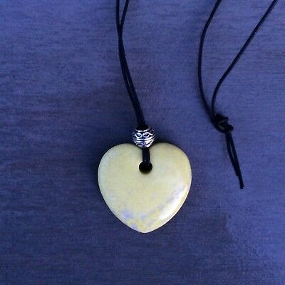Lime yellow green Connemara marble Valentines Day heart carved pendant Celtic.
