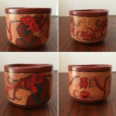 Vtg Central American Red Clay Pottery Hand Made & Painted Aztec Myan Design