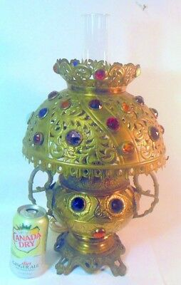 Antique Victorian JEWELED LAMP Reticulated Faceted Glass GEMS