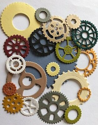 GEARS Die-Cuts(18pc)Steampunk •Cog•Metal•Sprocket•Earthtone•Machine•Antique•Spin