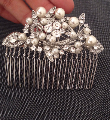 Vintage Silver Rhinestone Pearl Wedding HAIR COMB Bridal headpiece Clear