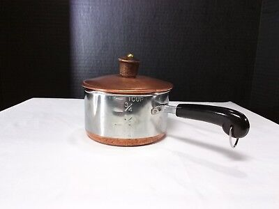 REVERE WARE 1 Cup Measuring Melting Pan Pot Copper Clad Stainless w/ Lid USA