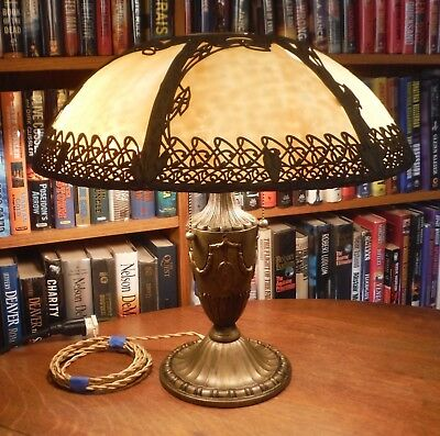 Antique Bradley & Hubbard Bent Slag Glass Lamp Miller Empire Handel Styles