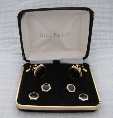 Bill Blass Cufflinks & Studs, Hexagon, Gold-Tone with Shiny Black Center Stones
