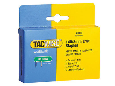Tacwise - 140 Heavy-Duty Staples 8mm (Type T50, G) Pack 2000 - TAC0346