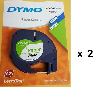 2 x Genuine Dymo Letratag Tape Paper on White Label 12mm x 4m 92630 Value Packs
