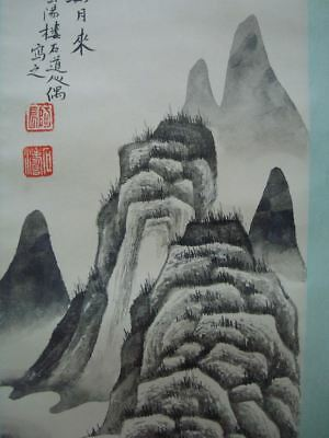 "Rare Large Fine Old Chinese Scroll Hand Painting Landscape ""ShiTao"" Marked"