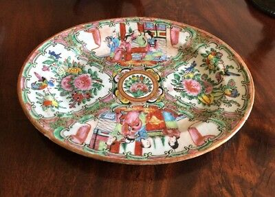 Antique Chinese Rose Medallion Hand Painted Platter-c1800?