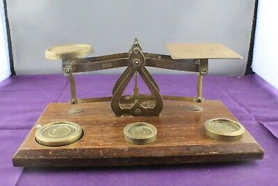 Antique Vintage Postal Scales with Weights Made in England Warranted Accurate