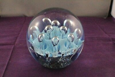 Beautiful Abacus Imports Art Glass Purple-Blue-Clear Bubble Paperweight. 1.355Kg