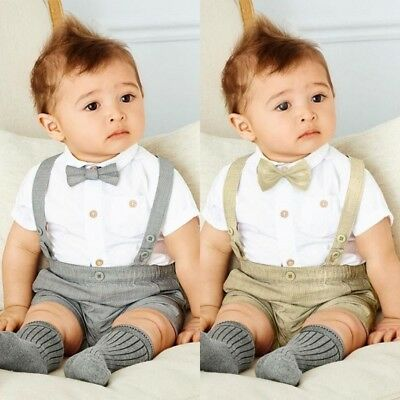e39f5c3b7 BOY BABY WEDDING Formal Suit Bowtie Gentleman Romper Tuxedo Newborn ...