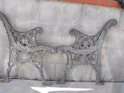 Antique Cast Iron Bench Ends Very Unique Embossed Lion Roaring Steampunk