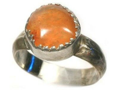 18thC Antique Russian Ukrainian Crimean Tatars Silver Ring Orange Carnelian Sz9