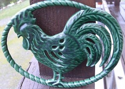 Large Green Enamel French Cast Iron Rooster Trivet Signed Made In France