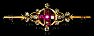 1.10cts ROSE CUT DIAMOND RUBY ANTIQUE VICTORIAN LOOK 925 SILVER BROOCH