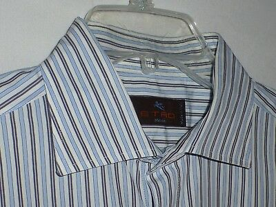 Mint$425 17x35 Etro Lrg Fitted Mens White Blue Striped Shirt ITALY 43 Nordstrom