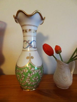 Early Victorian  Acanthus On Green And Hand Painted Posy Vase