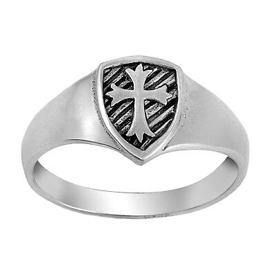 925 Sterling Silver Medieval Shield Cross Signet Ladies' Band Ring