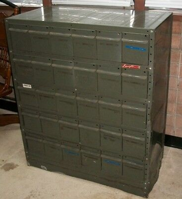 Vintage Large 30 Drawer Parts Cabinet Equipto Industrial Bin Green Metal  Tool