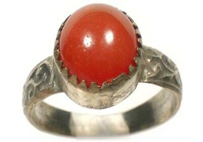 Antique 18thC Russian Ukrainian Crimean Tatars Silver Ring Orange Carnelian Sz11
