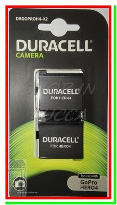 2 Batterie Ricaricabili DURACELL DRGOPROH4 x Action Cam GoPro Hero4 AHDBT-401