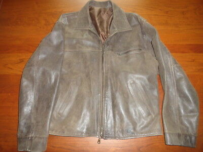 VINTAGE Leather Jacket BROWN Lined Distressed Size M