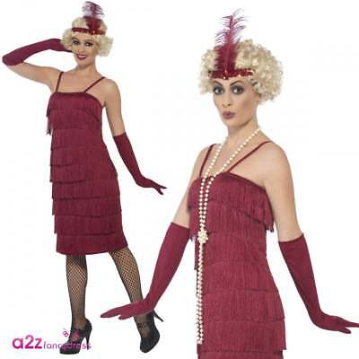 a17842f71e8 Ladies Long Flapper Costume Red + Gloves 1920s Gatsby Adult Fancy Dress  Outfit