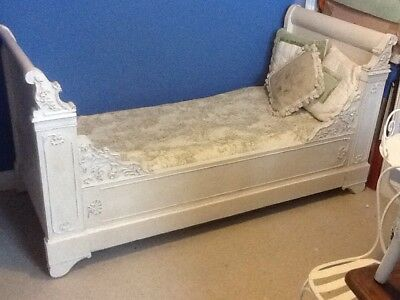 French Antique Single Sleigh Bed White And New Mattress