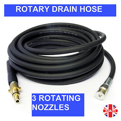 30m DRAIN CLEANING HOSE with ROTARY NOZZLE for SILVERLINE Pressure Jet Washer