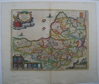 Somerset: antique map by Johan Blaeu, 1645 and later