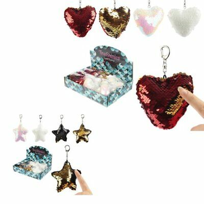 Stars & Heart Keyrings Sequin Mermaid Fabric Gift Idea Love Random Colour Sent