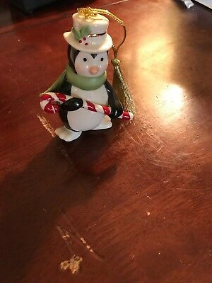NEW Lenox Very Merry Holiday Porcelain Christmas w/ 24k Gold Penguin Ornament