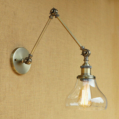 Wall Lights Lamp Clesr Glass Lampshade Free Adjustable Long Swing Arms Lighting